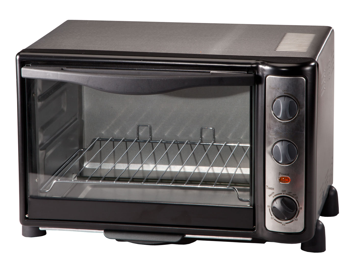 Toaster Oven by The Home Marketplace This generously sized, versatile toaster oven by Home-Style KitchenTM does it all, from broiling to baking to cooking. It heats food quickly and efficiently up to 450 -- no need to heat up your full-size oven for fast meals. Stainless steel toaster oven features baking and broiling controls and a timer for perfect results every time. Glass windows allows you to see when food is ready. Durable, stylish stainless steel finish complements any decor. ETL listed. Interior measures approximately 12  L x 9 1/3  W x 8 1/2  H. Measures 17  L x 12  W x 11 1/2  H overall.