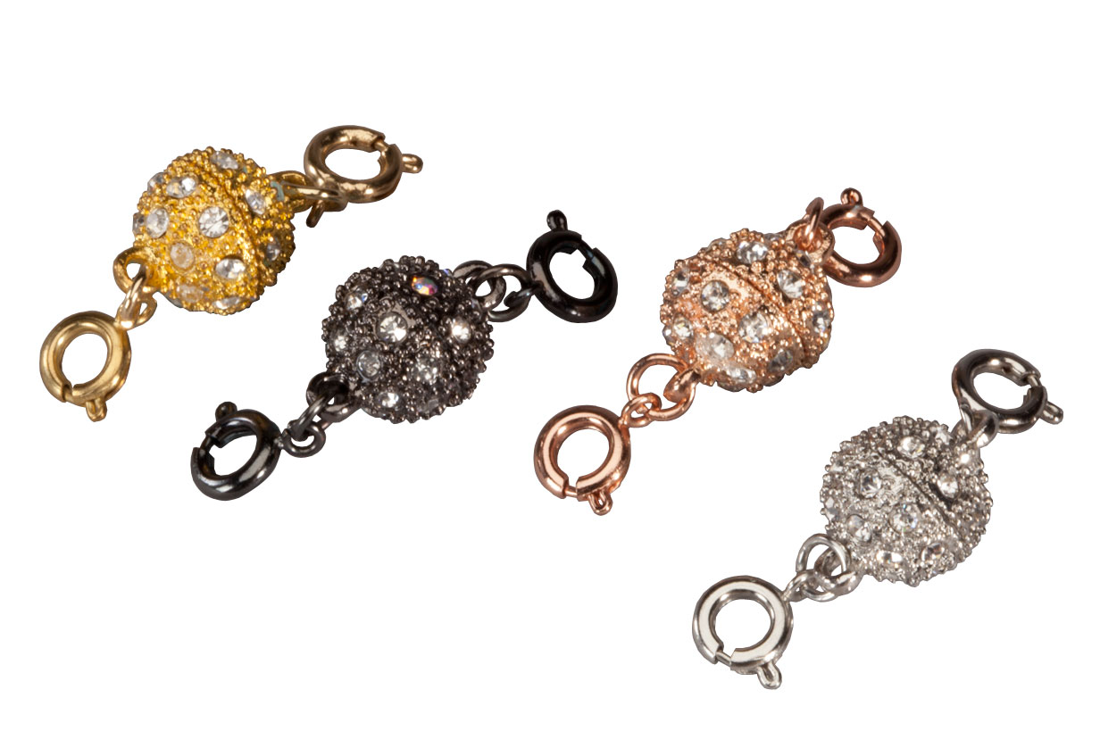 Fashion Magnetic Jewelry Clasp, Set of 4 Fashion magnetic jewelry clasps add ease and sparkle to your favorite jewelry. Perfect for anyone who has trouble fastening and unfastening necklaces or bracelets, simply attach your own jewelry to the spring ring clasp on each side and let the strong magnets do the rest. Each 1/2  dia. x 1 1/4  L magnetic clasp is encrusted with sparkling crystals for extra dazzle. Set of 4 includes silvertone, goldtone, rosetone and blacktone to complement any jewelry collection.
