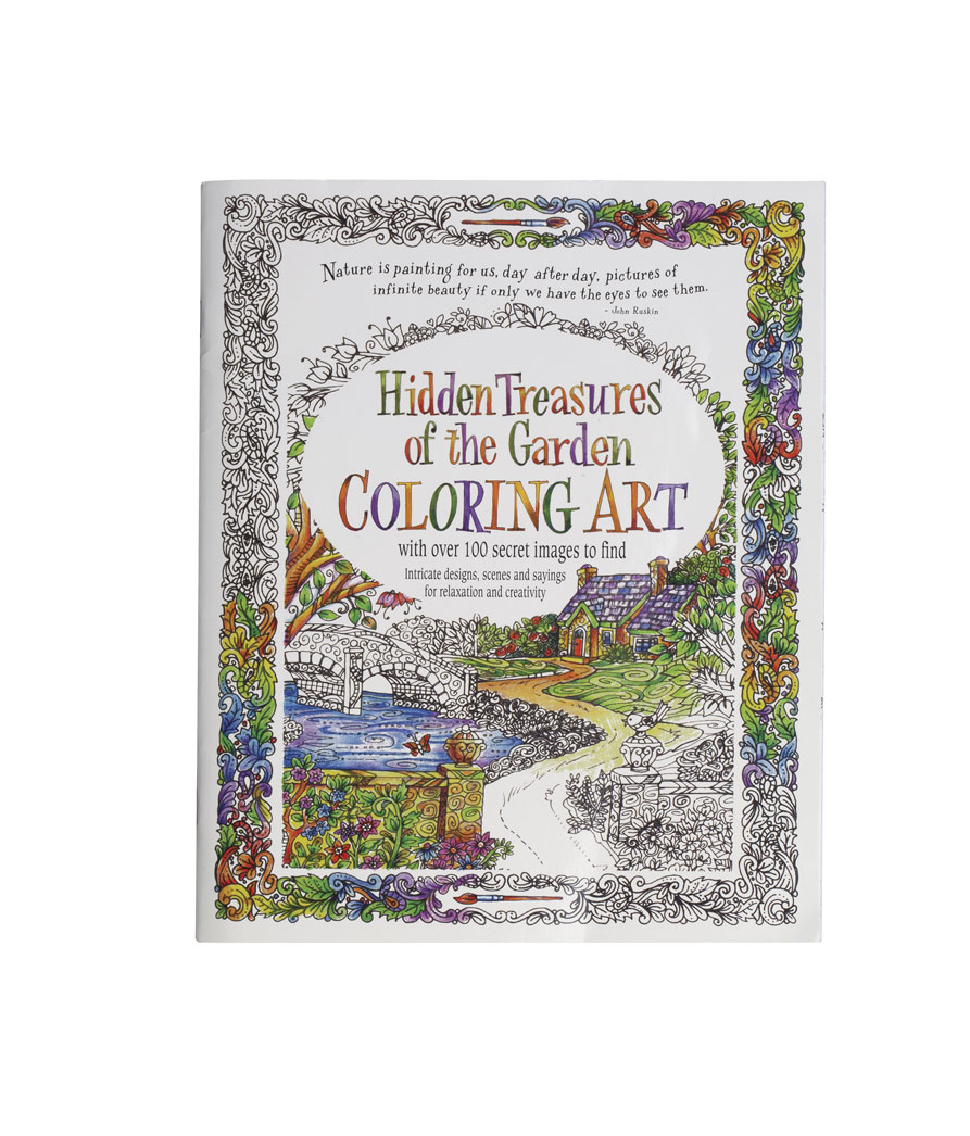 Adult Hidden Treasures of the Garden Coloring Book Keep your mind calm and focused with this Adult Hidden Treasures of the Garden coloring book. Adult coloring book features 24 whimsical garden images to color, along with a challenge: Hidden in the book are more than 100 secret items to find. Three to six of the same item are hidden in each intricate image, such as six shoes in one picture, four feathers in another. Designed to help adults relax, these coloring pages include verses in a quaint storybook format. Each page is perforated for easy removal and framing and includes space on the reverse side for a signature and date. 9  x 11  soft cover.