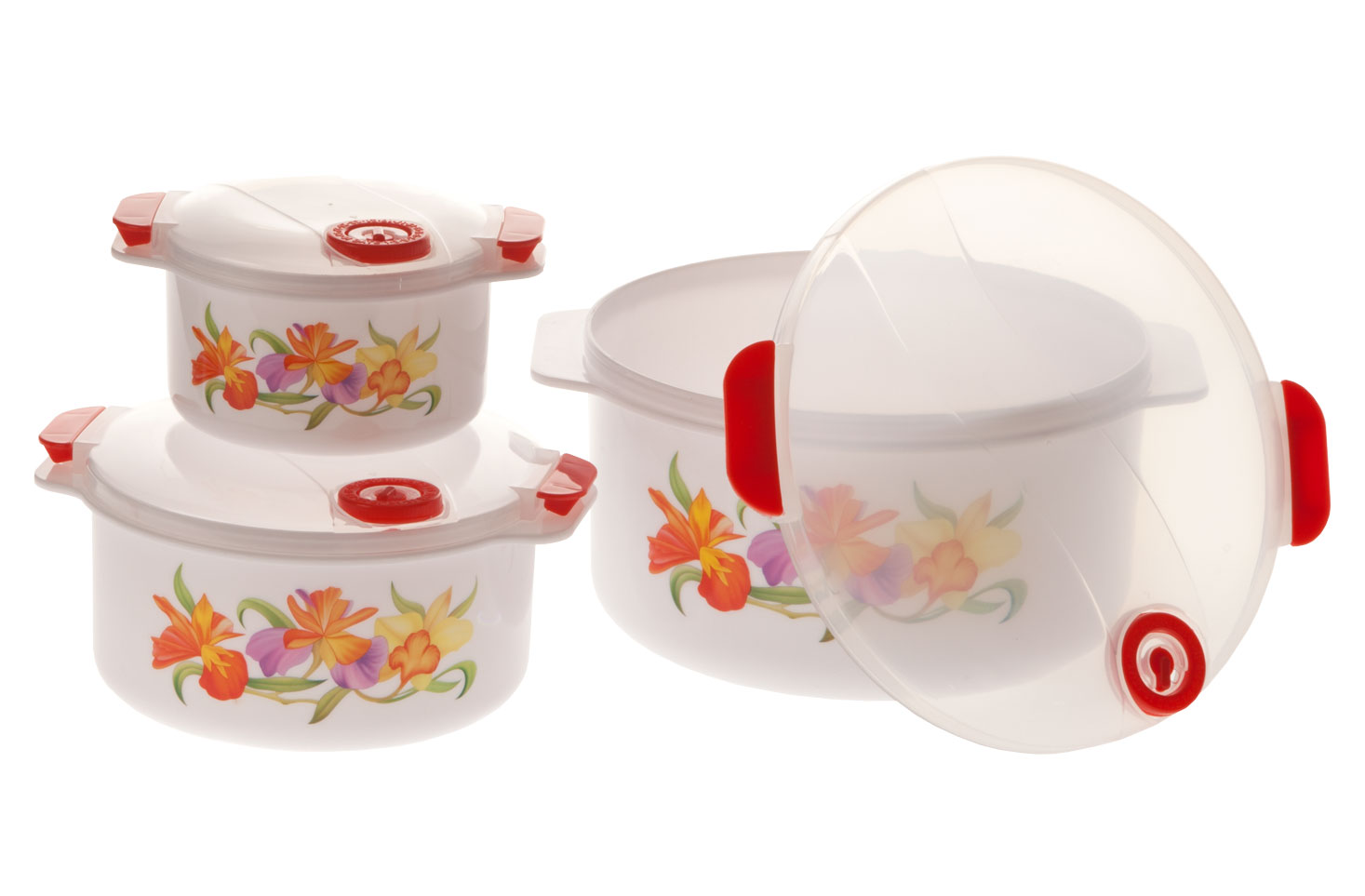 Floral Microwave Pot Set Floral microwave pot set beautifully handles cooking and storage. Lids have steam-release valves for splatter-free microwave cooking. Convenient date dials make it easy to keep track of how long foods are refrigerated. Dishwasher-safe, durable plastic microwave safe dishes makes cleanup easy. Set of 6 includes 3 sizes with lids: 8 cup, 4 cup and 1 1/2 cup.