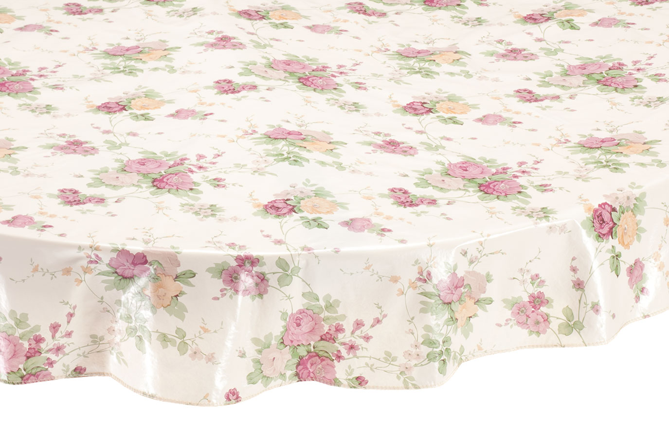 Vintage Floral Vinyl Tablecovers by Home-Style KitchenTM A soft, nostalgic floral design gives our tablecover vintage charm ... and this exclusive vintage floral vinyl elasticized tablecover by Home-Style KitchenTM is beautiful and practical in premium, spill-proof vinyl. The durable vinyl table cover with soft flannel backing protects table surfaces from moisture, stains and scratches--simply wiping clean, meal after meal. Specify size code. Specify color: lt. blue or beige. Imported.