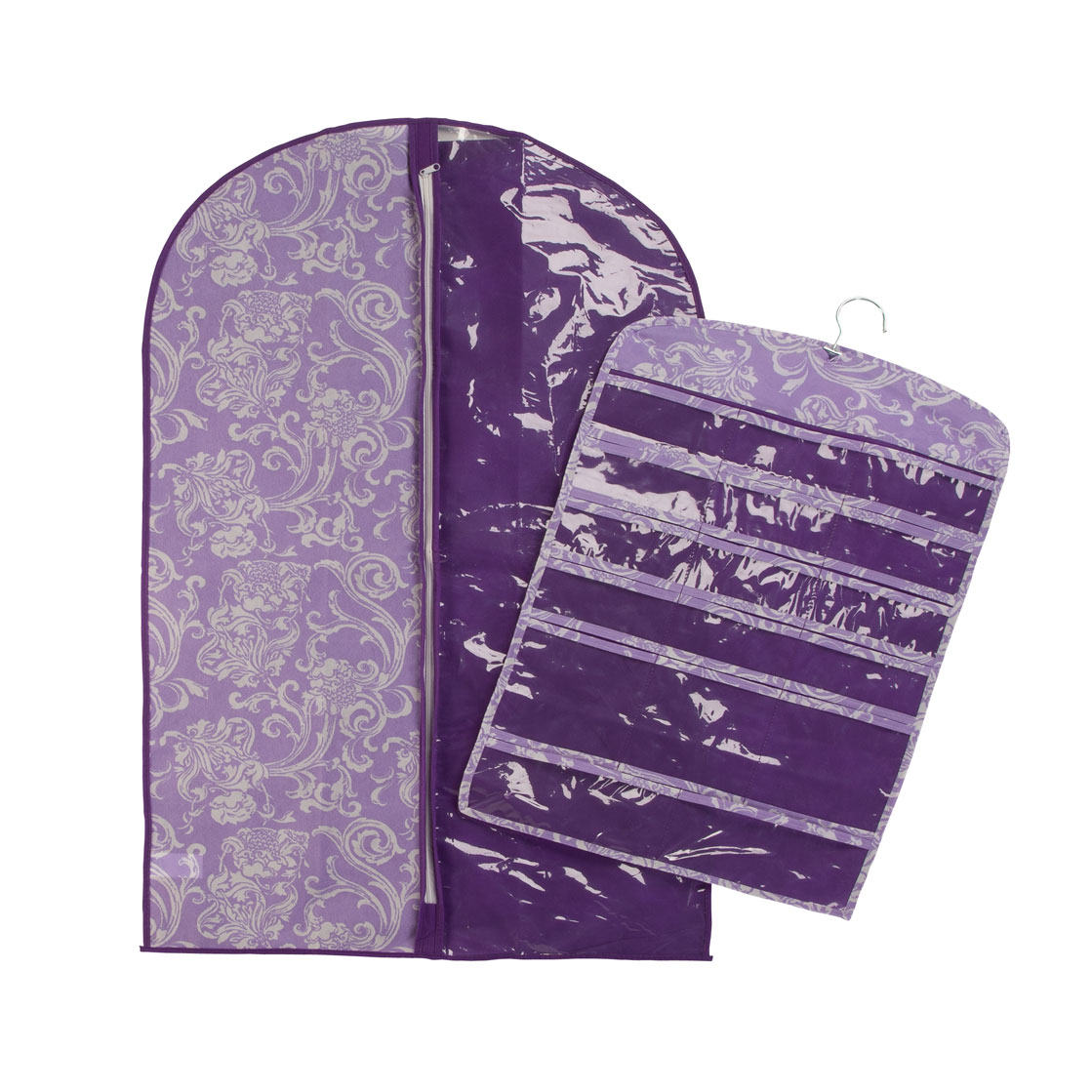 Lavendar Garment and Jewelry Organizer Set of 2 Add feminine style to your travels with this lavender garment and jewelry organizer. Zip-close women's garment bag protects clothing from being soiled on the go and keeps it dust-free in your closet. Versatile jewelry holder features 17 pockets perfect for all kinds of accessories -- simply roll up for travel, open and hang by its metal hook at your destination. Two-piece set is a smart value! Garment bag measures 23  W x 39  H; jewelry organizer is 17 1/2  W x 26  H when flat. Wipe-clean polypropylene.