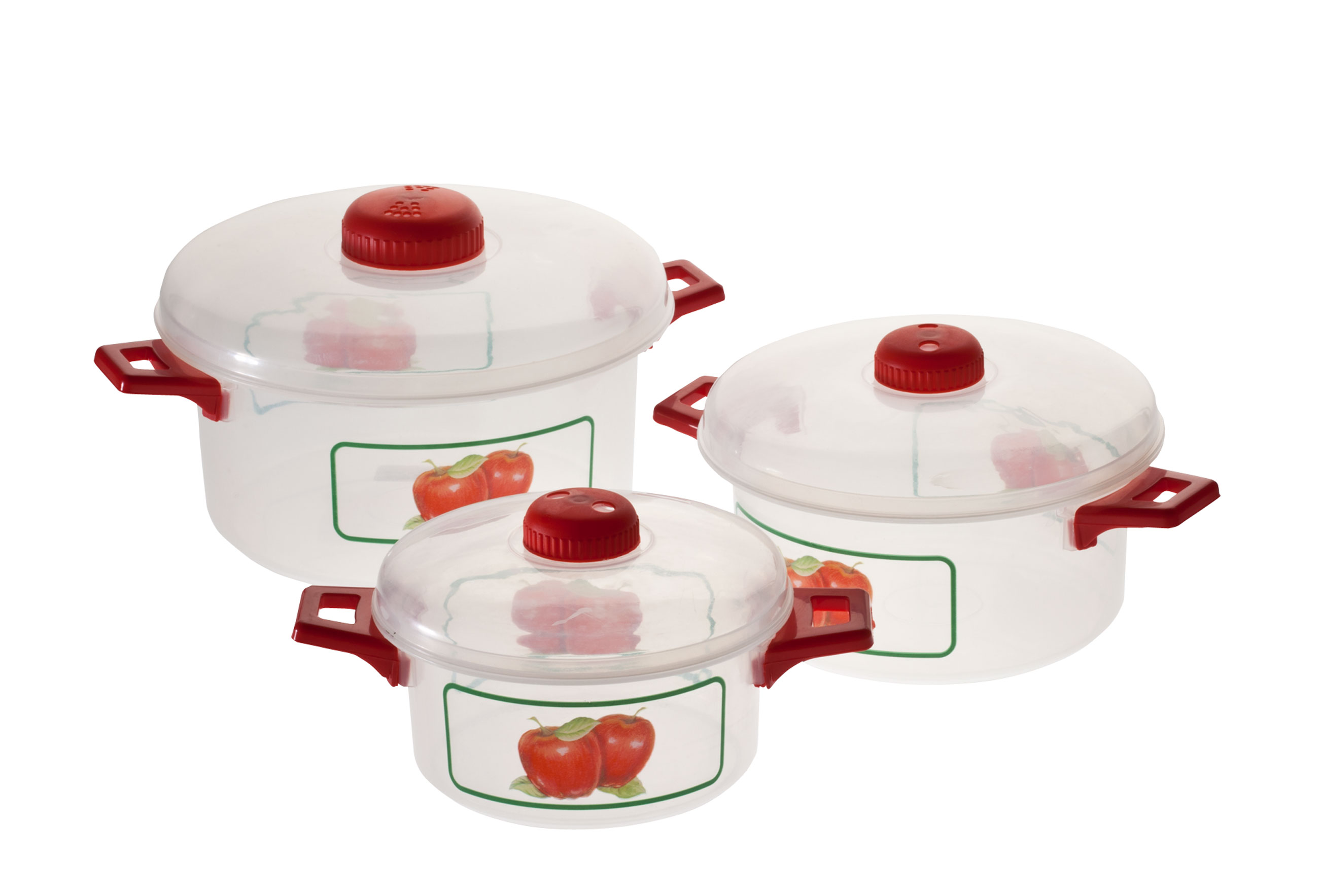 Microwave Pots with Apple Design, 6 Piece Set Get more out of your microwave with these charming microwave pots with apple design. Versatile microwave cookware set includes pots in 3 sizes, each with a vented lid to release pressure and stop splatters -- for worry-free cooking and great results. Stacking cooking pots feature a classic apple motif, colorful handles and matching lids. Set includes 3 sizes: 12, 7 and 4 cups. Durable plastic is dishwasher safe.