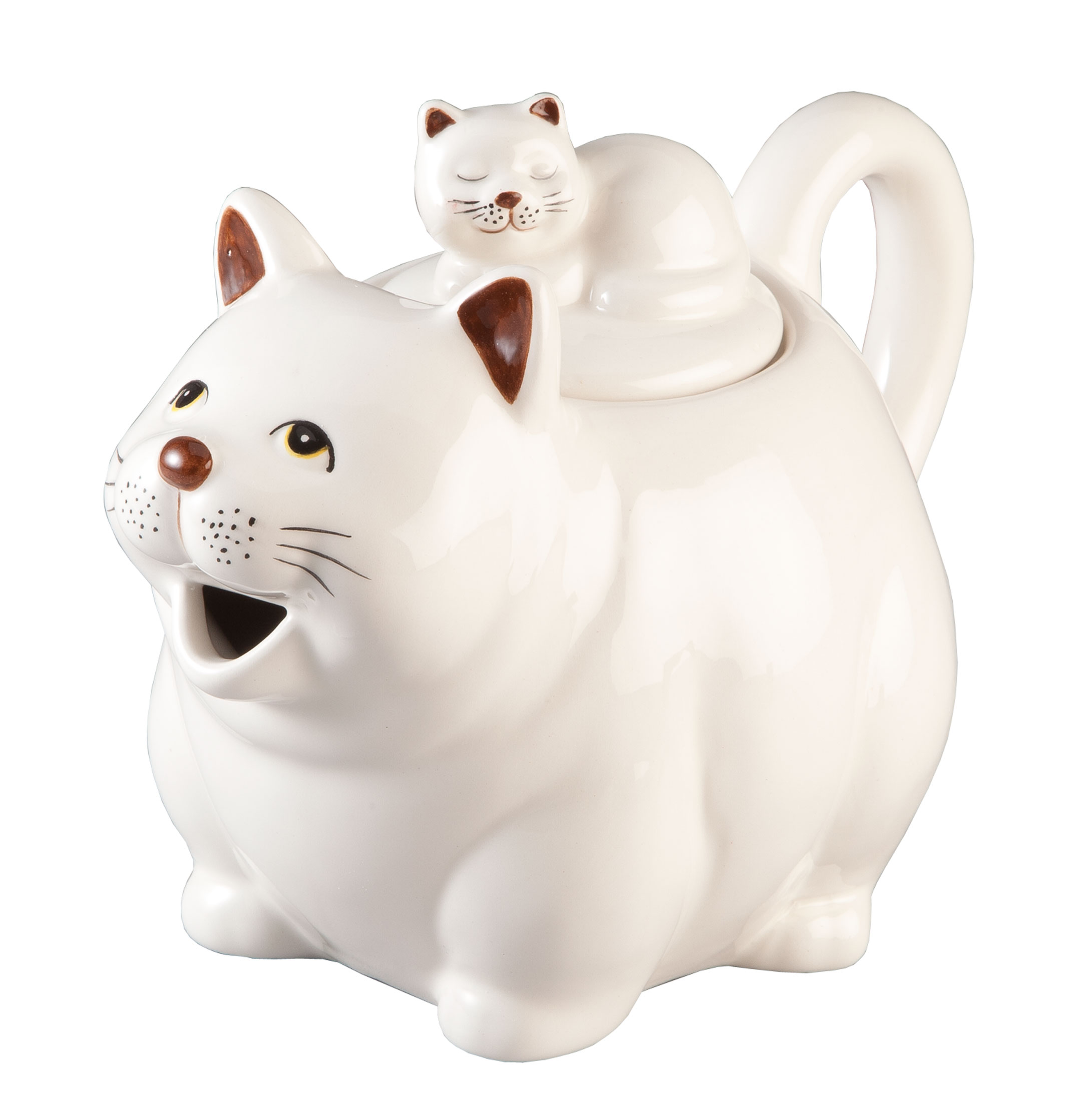 Cat Teapot by Home-Style Kitchen Serving tea in whimsical style, this cat teapot by Home-Style KitchenTM pours from her open mouth, while her curved tail forms a cute, sturdy handle. With another napping kitten curled up on the lid, our ceramic teapot shines in handpainted ceramic. Fun, functional and cute for display, it's a great gift for any cat lover or teapot collector! Small teapot measures 7 1/2  L x 5  W x 5 3/4  H. Hand wash.