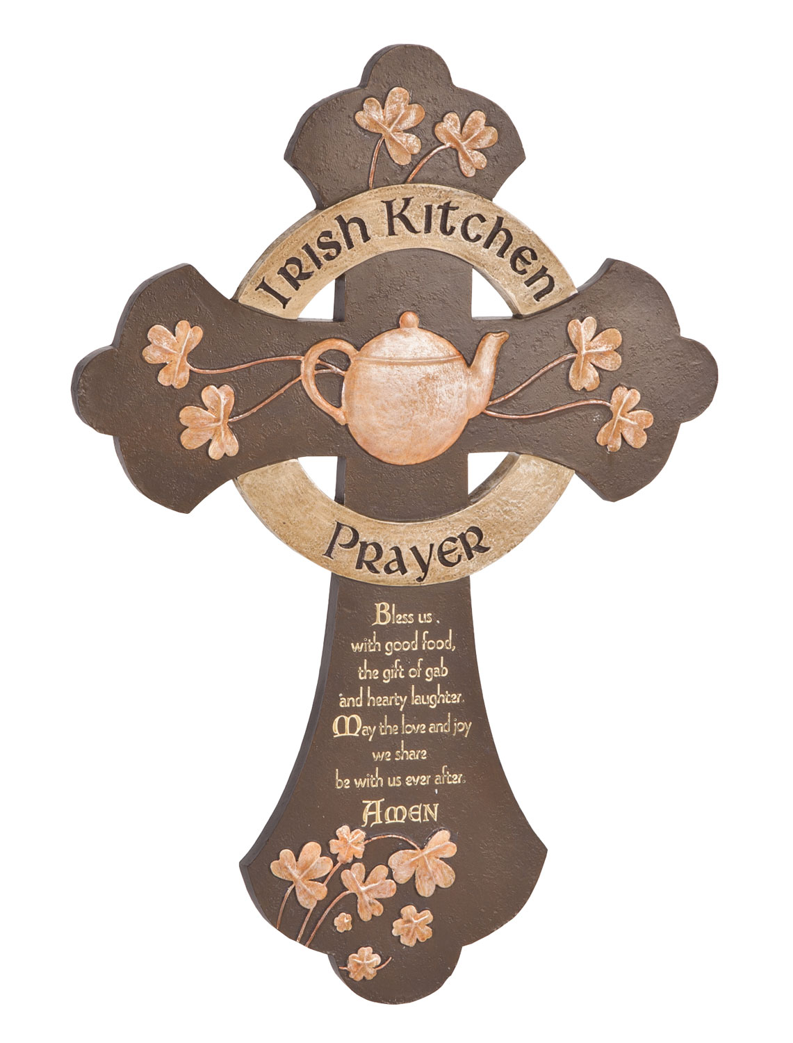 Irish Kitchen Prayer Cross Warming hearts with sweet Irish sentiment, this Irish kitchen prayer cross reads:  Bless us with good food, the gift of gab and hearty laughter. May the love and joy we share be with us ever after. Amen.  Crafted of resin with painted metallic accents, the decorative cross is perfect for you or a lucky Irish friend--a keepsake gift for weddings, housewarmings, birthdays, St. Patrick's Day and more! Wall cross includes sawtooth hanger. 12 1/8  L x 8 1/2  W.