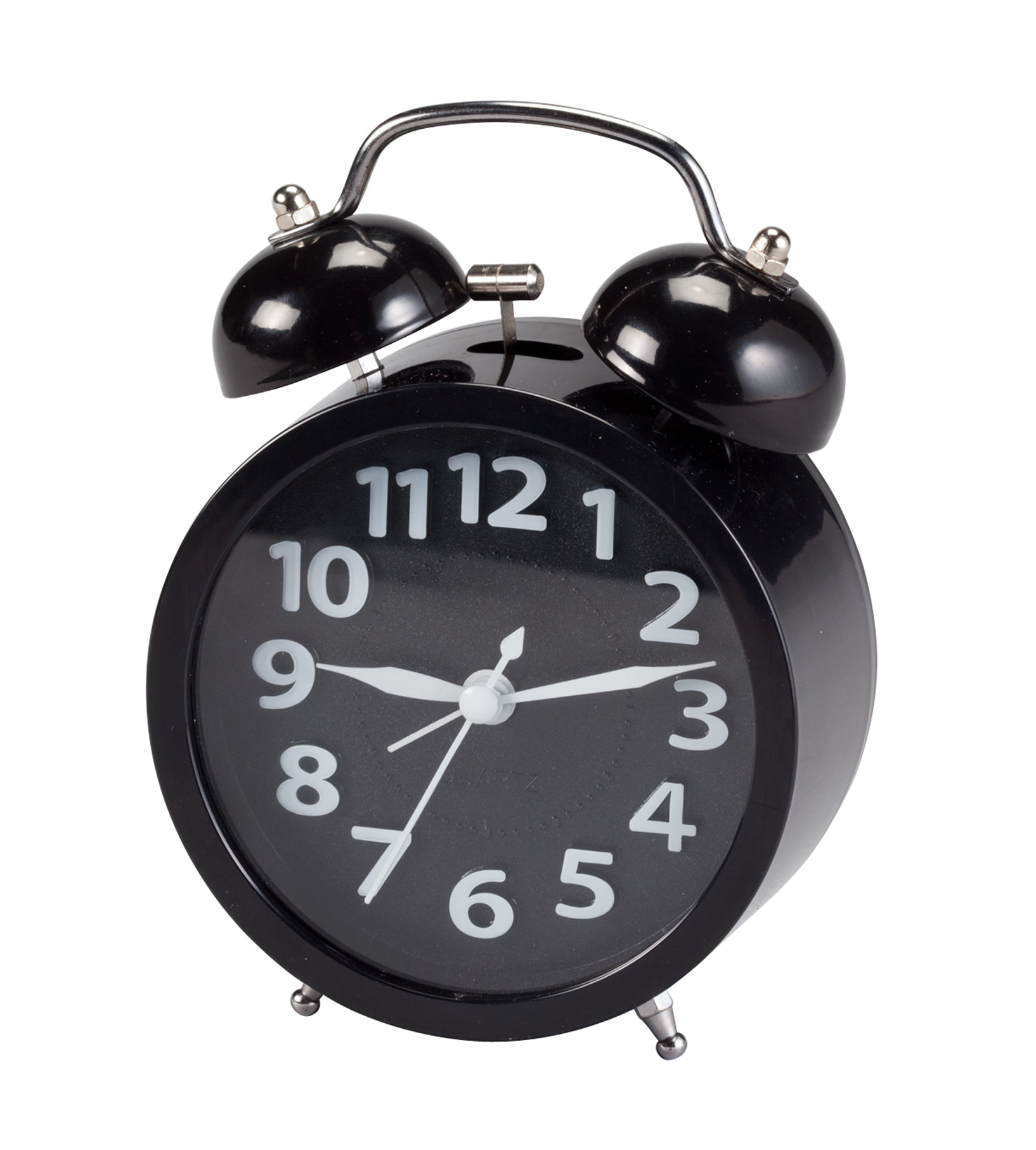 Retro Style Twin Bell Alarm Clock Retro style twin bell alarm clock adds vintage fun to your mornings. As its classic hammer strikes the twin bells, it's loud enough to wake even the heaviest sleepersonalized! In addition to the classic chrome carrying handle and feet, large numbers, second hand and an easy-on/off alarm switch, the bell alarm clock features modern upgrades like a push-button light that illuminates the face and battery operation. Requires 1 AA battery (not included). Retro alarm clock measures 3 3/4  W x 1 3/4  D x 5  H. Metal.