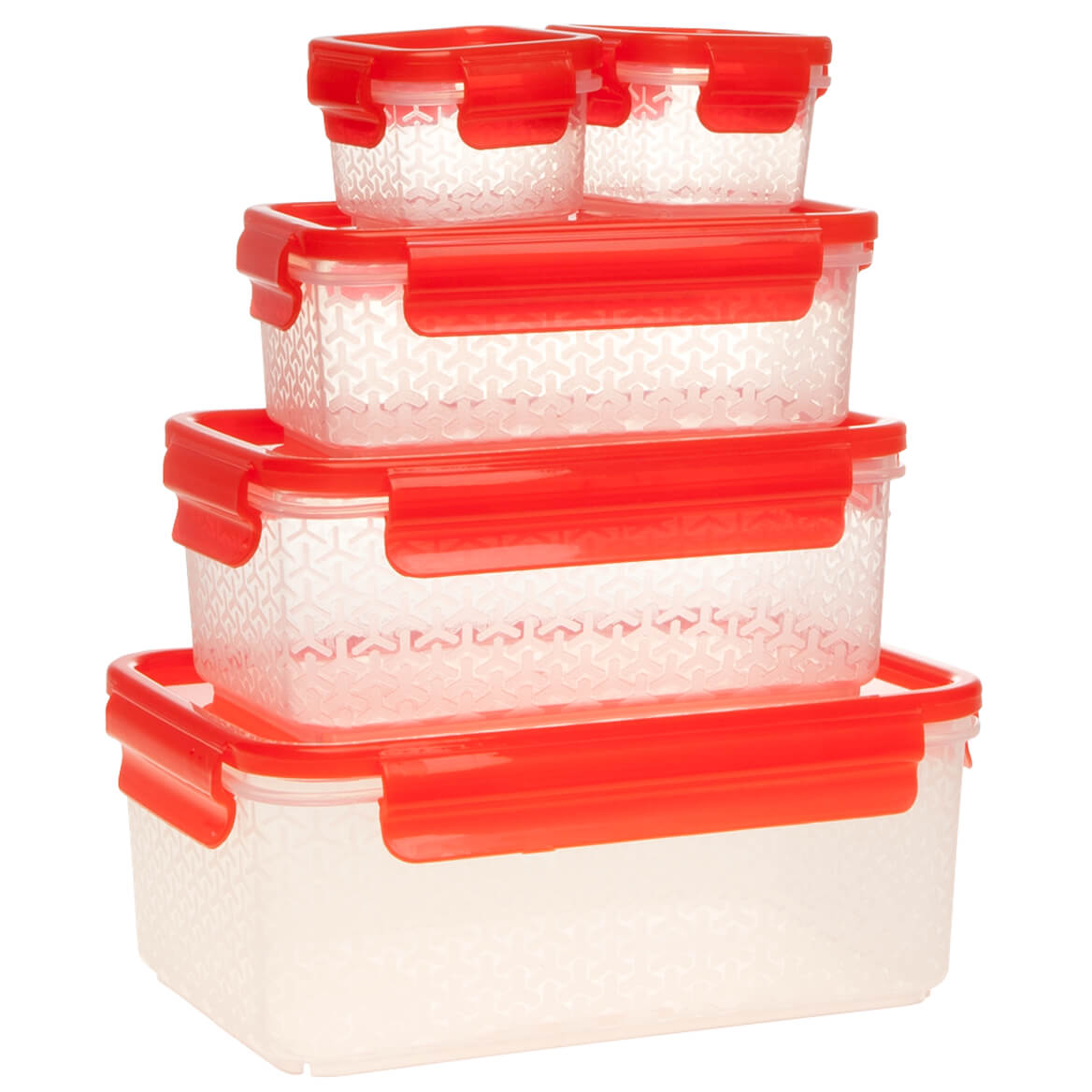 Nested Food Containers, 10 pc Featuring airtight lids that attach and detach with handy pull tabs, these nested food containers stack efficiently in fridge, freezer or pantry--then nest neatly for space-saving storage. A smart solution for organized food storage and transport, the clear, reusable storage containers are designed in durable BPA-free plastic and safe for microwave and dishwasher. Set of 10 kitchen containers includes: two 3-oz. containers with lids (2 1/2  x 2 1/2  x 1 3/4  H), one 13.5 oz. container with lid (6  L x 3 1/2  W x 2 1/4  H), one 27-oz. container with lid (7  L x 4 1/2  W x 2 1/2  H) and one 54-oz. container with lid (8 1/4  L x 5 1/2  W x 3 1/16  H).