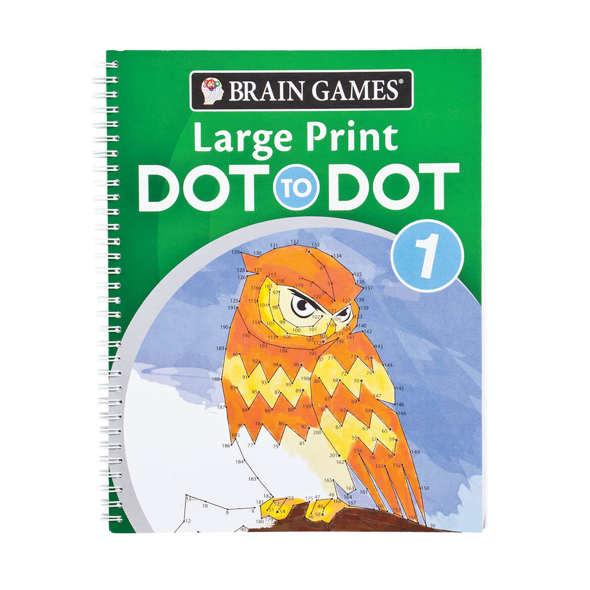Brain Games Large Print Dot to Dot Version 1 Owl Cover Designed to work your brain without straining your eyes, these Brain Games Large Print Dot to Dot puzzles are printed in LARGE, easy-to-read type! Helping enhance focus and concentration while you relax and enjoy without squinting or struggling to see, the classic dot-to-dot book features a variety of visual themes. Version 1 includes animals, famous people, landscapes and everyday objects; Version 2 features buildings, action scenes, food and famous people. Spiral binding keeps each Brain Games large print book flat during use, and single-sided perforated pages are perfect for tearing out and displaying your finished pictures. Each connect the dots book includes over 55 puzzles with answer key in back. Specify style: Version 1 or Version 2. Each softcover, 128 pages. 8 1/2  x 11 .