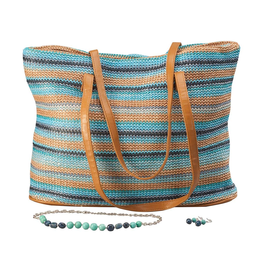 Woven Stripe Bag with Jewelry Set From a day at the beach to a night on the town, you'll be perfectly coordinated with this handbag and jewelry set. The striped woven bag in shades of blues and browns is ideal for those occasions when you want to carry a bit more than the basics. It's 14 3/4  L x 4  W x 12  H with a magnetic snap closure, inside zip pocket, 10  drop double handles and durable PVC construction. Accessorizing is a breeze with the matching necklace and earrings. The 20  L necklace features 9 turquoise-colored beads, 6 navy beads, silver spacers and a lobster clasp. The 1 1/4  L drop-style earrings feature turquoise and navy beads gracefully dangling from silvertone French wires.