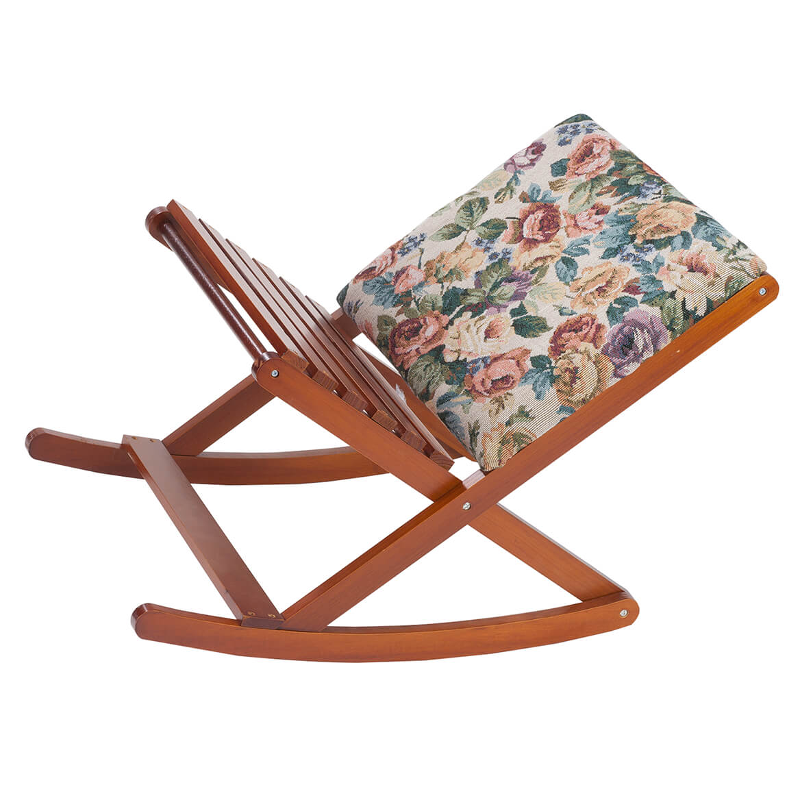 Deluxe Foldable Rocking Footrest The rocking footrest that moves with you is now even better, with extra width and height and 2 fabric choices! You'll love kicking back and relaxing as the padded side cradles your calves and the wood side supports your soles at the perfect angle. Specify style: elegant floral tapestry or soft and cozy sherpa. Sturdy wood frame folds flat for easy storage. Measures 24  L x 16  W x 14 1/2  H when open, 5  H when folded.