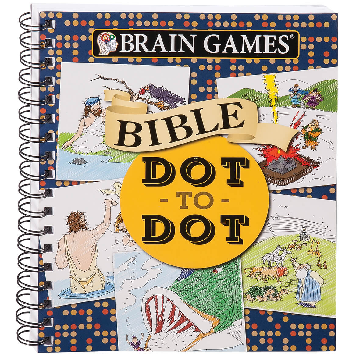 Brain Games Bible Dot to Dot With over 100 dot-to-dot puzzles centered on New and Old Testament Bible passages, this Brain Games Bible Dot-to-Dot combines a spiritual boost along with a brain-enhancing workout. From depictions of Jesus healing the sick to verses encouraging your faith, the adult dot-to-dot puzzles help test your focus and concentration while learning more about the Good Book. Spiral binding keeps this softcover Brain Games book flat during use. 160 pages with answer key in back. 9 1/4  x 7 1/2 .