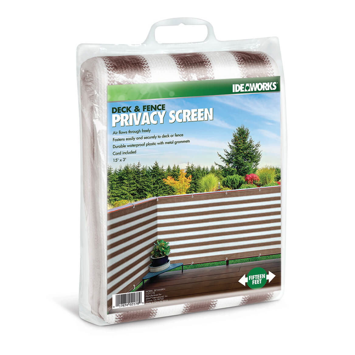 Brown and White Striped Deck & Fence Privacy Screen Offering instant privacy for patio, balcony or deck, this stylish striped deck & fence privacy screen blocks revealing views--so you can relax outdoors without awkward exposure to neighbors, the street or the sidewalk. The breathable woven fence screening secures easily to fence or deck with included cord, or weaves between deck posts or railings, and can be placed strategically to create custom privacy without impeding light or airflow. Shielding you with a full 3 feet of height, the 15-foot long garden screening is crafted of durable waterproof polyester netting with reinforced seams and metal grommets. Brown/white.